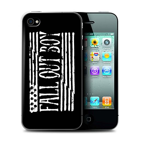 Offiziell Fall Out Boy Hülle / Case für Apple iPhone 4/4S / Flagge/Schwarz Muster / FOB Band Logo Kollektion (Iphone 4 Amerikanische Flagge Fall)