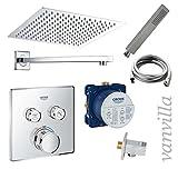 vanvilla Dusch-Set Unterputz Armatur Grohe SmartControl Thermostat Regenduschkopf eckig poliert SET G02