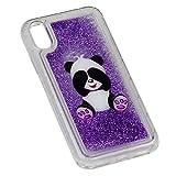 Cover iPhone 6s Custodia,iPhone 6 Custodia Brillantini Trasparente,Panda Modello Case Originale Glitter Morbido Gel Silicone Bumper Ragazza Liquid Vedi Custodia per iPhone 6/6s 4.7,Porpora