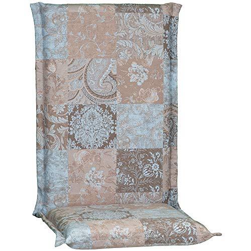 nxtbuy Gartenstuhl-Auflage Ascot Zip 120x52 cm Vintage Patchwork 6er Set - Hochlehnerauflage mit abnehmbarem & waschbarem Bezug - Premium Stuhlauflage Made in EU / ÖkoTex100