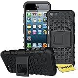iPhone 5 5s / iPhone SE Funda, FoneExpert® Heavy Duty silicona híbrida con soporte Cáscara de Cubierta Protectora de Doble Capa Funda Caso para iPhone 5 5s / iPhone SE + Protector Pantalla (Negro)
