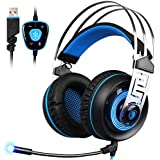 SADES A7 Gaming Headset 7.1 son surround virtuel USB Casque de jeu avec micro intelligent Noise Cancelling Gaming casque LED Light pour ordinateur portable PC Mac (Noir et Bleu)