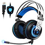 Sades A7 7.1 Virtual Surround Sound USB Gaming Headset mit Mikrofon Intelligente Geräuschunterdrückung Gaming Kopfhörer LED-Licht für Laptop PC Mac (schwarz & blau)