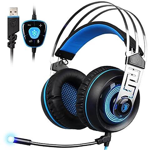 SADES A7 Gaming Headset 7.1 son surround virtuel USB Casque de jeu avec micro intelligent Noise Cancelling Gaming casque LED Light pour ordinateur portable PC Mac (Noir et Bleu)