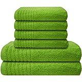 Gallant 6 tlg Handtuch-Set 4 Handtücher 50x100 cm 2 Duschtücher 70x140 cm 100% Baumwolle grün