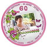 Tortenaufleger Tortenbild Geburtstag rosa Blumen Wunschtext Foto essbar Ø 20cm 207