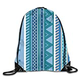 Sporttaschen Turnbeutel, Aztec Stripe Pattern Blue Unisex Multipurpose Drawstring Backpack Bags...