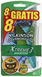 Wilkinson Sword Xtreme 3 Sensitive - Pack de 8+8 maquinillas de afeitar desechables masculinas con cuchilla flexible de tres hojas y banda lubricante con Aloe Vera