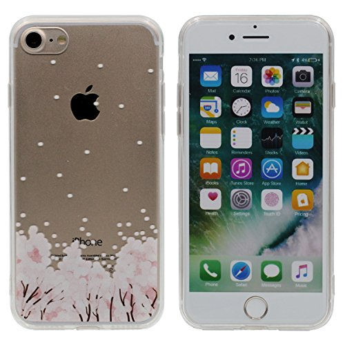"iPhone 7 Coque Case, Souple Ultra Fine Poids léger TPU Etui Apple iPhone 7 4.7"", Haute Clair Transparente, Joli Rose Fleur Image Serie Color-3"