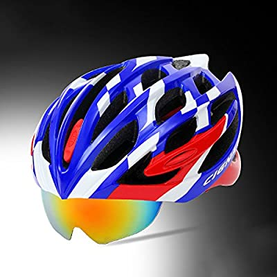 230g Ultra Light Weight -profession Bike Helmet, Adjustable Sport Cycling Helmet Bike Bicycle Helmets For Road & Mountain Biking,Motorcycle For Adult Men & Women,Youth - Racing,Safety Protection-Magnetic Lantern Helmet by Zidz