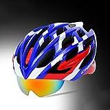 230g Ultra léger - casque de vélo spécialisé, casque de vélo réglable de sport Casques de vélo de vélo pour la route et le vélo de montagne, moto pour les hommes et les femmes adultes, la jeunesse - emballage, protection de sécurité-casque de lanterne magnétique ( Color : Blue and white )