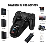 DOBE Controller Charger for PS4, USB Dual Charging Docking Station Stand for Sony Playstation PS4 / PS4 Slim / PS4 Pro Controller (Blue-Red)