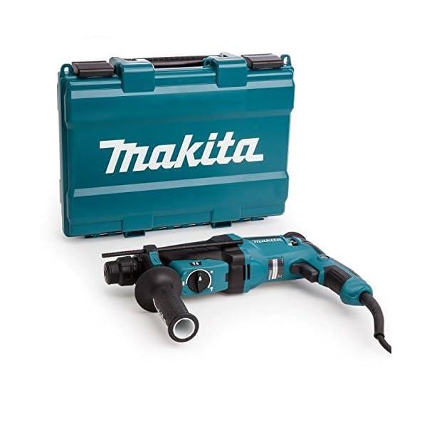 Makita  HR2630 – Martillo rotativo combinado (26Mm, 230-240 V, 800 W, 0 – 1.200 Rpm, 40 posiciones)