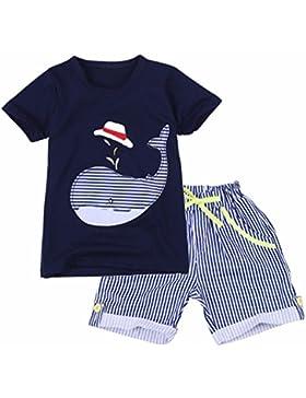 YIZYIF Ropa De Niños Infantil 2-7 Años Conjunto Algodón Camiseta Con Manga Corta Pantalones Cortas Rayadas Traje...