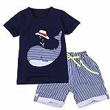 YIZYIF Ropa De Niños Infantil 2-7 Años Conjunto Algodón Camiseta Con Manga Corta Pantalones Cortas Rayadas Traje De Verano Playa Viajar Para niños Azul Marino 5 años