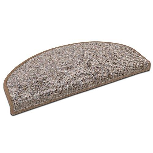 """Floordirekt 15 Stück Preiswerte Stufenmatten """"London"""" halbrund und rechteckig in 11 Farben (halbrund, groß, beige)"""