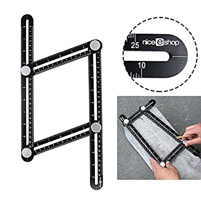 niceeshop(TM) Angleizer Template Tool,Angle Measure Ruler,Multi Angleizer Template Ruler for Builders or Engineer,Yellow+Black