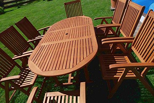 Edle Gartengarnitur Terassengarnitur Gartenset Gartenmöbel Holz Eukalyptus mit Ausziehtisch 140-180x100cm + 8 Hochlehner 7-fach verstellbar 'LIMA180-6EU-SET' von AS-S - 2