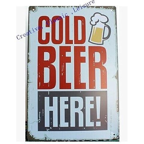 Retrò segno di birra decorazioni a parete Vintage arte metallo segno Home Bar Pub grotta uomo ,30x20cm
