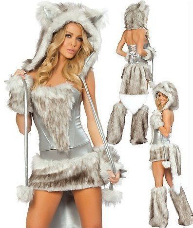 Damen Halloween-Kostüm Wolf / Fuchs Kunstfell , EU 36/38, 40/42 - EU (Kostüme Sexy Valentine)