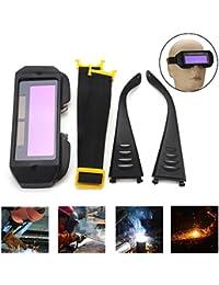 lzndeal Auto Solar Oscurecimiento Gafas de Soldadura Máscara Gafas Casco Ojos 2 Vías