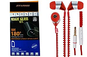 Jiyanshi Combo of Screen Guard / Screen Protector & Earphone Zip Style With Deep Bass Red Compatible For Lenovo K3 Note
