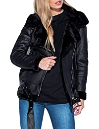 GG Frauen Faux-Leder-Flieger Aviator mit Kunstpelzfutter Shearling Damen Jacke