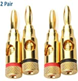 Heemepink 2-pair (4pcs) Gold Plated Musical Audio Speaker Cable Wire 4mm Banana Plug Connector,Open Screw Type
