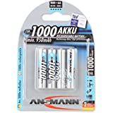 Ansmann 5030882 - Micro, tipo AAA 1000mAh pila altamente capacitiva profesional/multiuso, foto digital, 4 unidades