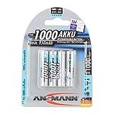 ANSMANN wiederaufladbar Akku Batterie Micro AAA Typ 1000mAh NiMH hochkapazitiv Hohe Kapazit�t ohne Memory-Effekt Profi Digital Kamera-Akkubatterie 4er Pack Bild