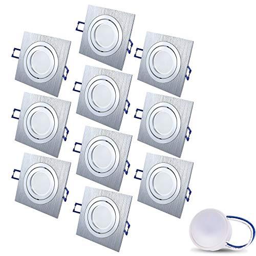 LED Einbaustrahler Schwenkbar extra-flach STAR Quadratisch Matt-Chrom/Silber Inkl. 10 X 5W LED Modul Einbautiefe:30 mm Warmweiß 230V IP20 Deckenstrahler Einbauleuchte Deckeneinbaustrahler Einbauspot - Mm-modul