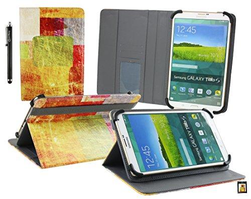 Emartbuy® BigBen Unity Tab 7 Tablet PC 7 Zoll Farbige Fliesen Multi Angle Exekutiv Folio Mappen Kasten Abdeckung mit Kartensteckplätze + Eingabestift