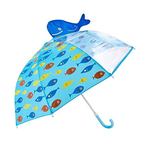 Rainbrace Paraguas manual infantil para niños-ventana transparente,verde