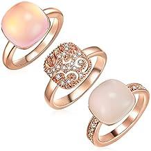 Lulu   Jane Set   Parure de 3 bagues femme doré or rose orné de cristaux 32223cca4c58