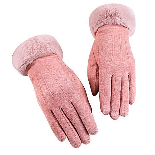 Handschuhe Damen Winter,ZHANSANFM Frauen Mode Elegant Hirschleder Fingerhandschuhe Anti-Skid Winddicht Warme Plus Samt Winterhandschuhe Casual Outdoor Sports Damenhandschuhe Rosa