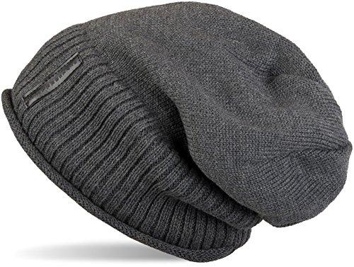 styleBREAKER warme Feinstrick Beanie Mütze mit sehr weichem Fleece Innenfutter, Unisex 04024065, Farbe:Dunkelgrau Fleece Beanie-mütze