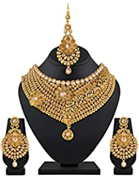 Sukai Jewels Gold Plated Diamond Floral Choker Necklace Set With Earring And Mangtika For Women And Girls [SN119G]