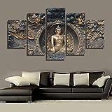 Hianiquaime 5 Pièces Tableau Bouddha Imprimé sur Toile Grand Format Image Dessin d'Ornement Décoration Murale pour Salon Chambre Hôtel Bureau Club