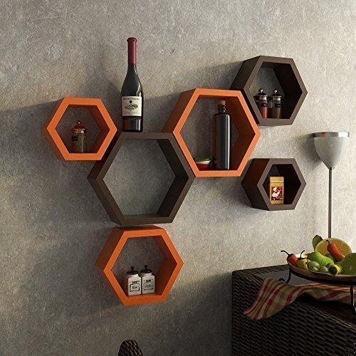 Artesia Decorative Wooden Brown & Orange Hexagon Shape Wall Shelf Set Of 6