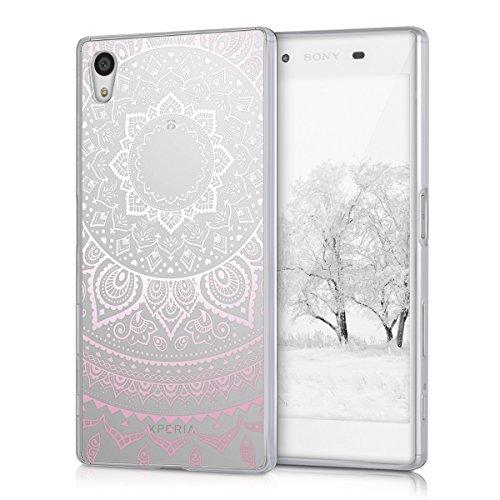 kwmobile Crystal Case Hülle für Sony Xperia Z5 aus TPU Silikon mit Indische Sonne Design - Schutzhülle Cover klar in Rosa Weiß Transparent