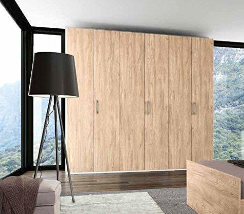Inhouse srls armadio in legno quercia e bianco graffiato con 6 ante in quercia, 240x53 236h.