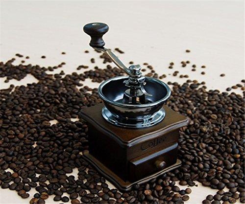 GXSCE Vintage Vollholz Kaffeemühle, Edelstahlkern Kaffeemühle, manuelle Kaffeemühle, kleine Kaffeemühle, Espresso Kaffeebohne Grinder, verstellbare Salz Pfeffermühle Grinds Bohnen Gewürze gebürstet