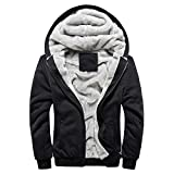KPILP Herren Übergröße Hoodie Winter Warm Fleece Zipper Sweater Outwear Mantel Plus Samt Baseball-Uniform Sportjacke(Schwarz, EU-56/CN-5XL
