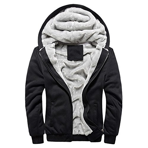 KPILP Herren Übergröße Hoodie Winter Warm Fleece Zipper Sweater Outwear Mantel Plus Samt Baseball-Uniform Sportjacke(Schwarz, EU-50/CN-XXL (Plus Winter Größe Mantel Columbia)