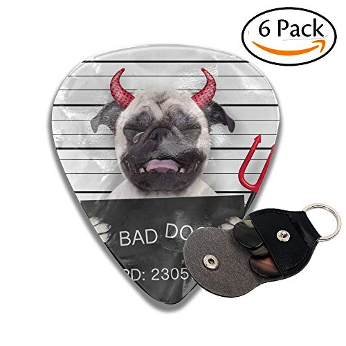 Wxf Halloween Devil Pug Dog Crying In A Mugshot Caught On With Photo Camera In Police Station Jail Colorful Celluloid Guitar Picks Plectrums For Guitar Bass 6 Pack.46mm