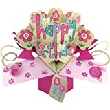 Second Nature A Female Happy Birthday with Flowers and Birds Pop Up Greeting Card