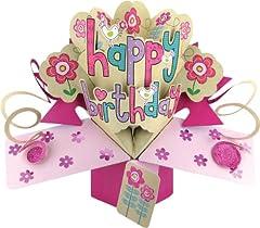 Idea Regalo - Second Nature - Biglietto di auguri pop-up per compleanno, motivo femminile con fiori e uccelli [lingua inglese]