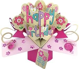 Second Nature - Biglietto di auguri pop-up per compleanno, motivo femminile con fiori e uccelli [lingua inglese]