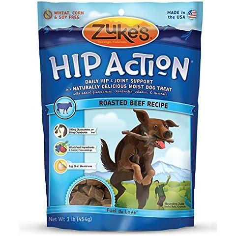 Hop Acción Dog Natural de Zuke Trata Receta Carne asada, 16 onzas