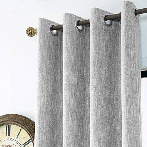 Melodieux Edle Baumwolle Fenster Behandlung Blackout Thermo Isolierte Tülle Vorhang/Drapes, Polyester-Mischgewebe, grau, W52 x L96 (Grau Tülle Vorhänge)